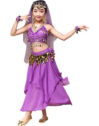 Astage Mädchen Kleid Kinder Bauchtanz Halloween Karneval Kostüm-SätzeViolettS (Halloween-kostüm Violett)