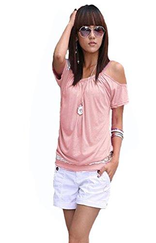 Sexy Tunika Tops (Mississhop Japan Style Damen Top T - Shirt Bluse Longshirt Tunika Tanktop Oberteil NATA puderrosa L)