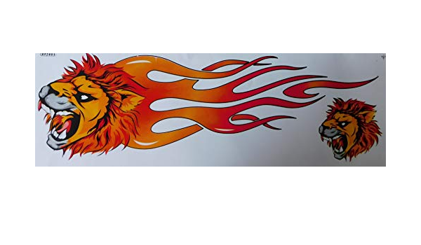 by soljo Lion Feu de Flammes Grands Tuning Racing Decal Sticker Fiche Dimensions 53 x 17 cm pour Voiture Moto Scooter ou Un v/élo