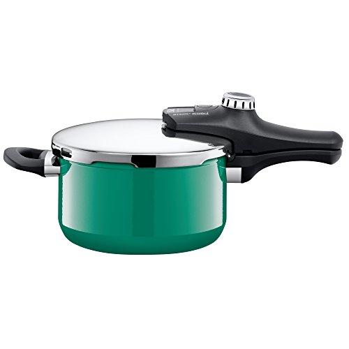 Silit Sicomatic econtrol Schnellkochtopf Set 2-teilig 3,0l & 4,5l, Silargan Funktionskeramik, 3 Kochstufen Einhand-Drehregler induktionsgeeignet, spülmaschinengeeignet, grün, Ø 22 cm