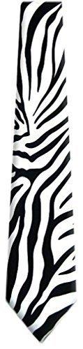 BYT-ZEBRA - Herren Zebra Print Necktie Schwarz - White
