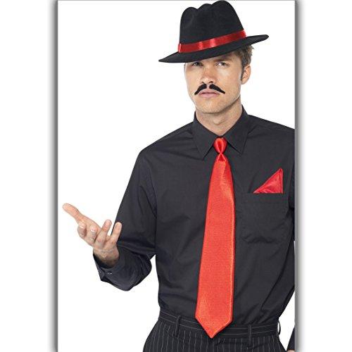 t Hut, Krawatte und Einstecktuch Gangster Kostümset Mafiaboss 20er Jahre Kleidung Mafiosi Outfit Männer Al Capone Kostüm Set (Gangster-outfit)