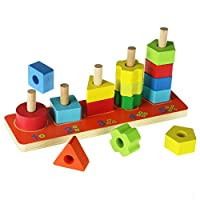 ACOOLTOY Wooden Counting Stacker Geometrical Stacking Blocks Toy For Children 18 Months and Up