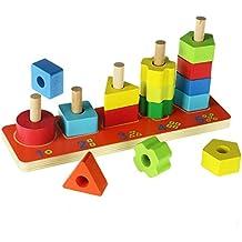 ACOOLTOY Stacker Geométricos de Apilar Colores y Números de Madera Juguete Educativo para Ninos Mayores 18 Meses