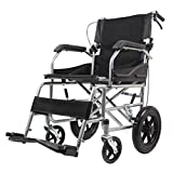 Transportrollstühle Rollstuhl mit 12-Zoll-Rädern, zusammenklappbarer, atmungsaktiver Netz-Trolley, Senioren-Reise-Ccooter, Vollgummireifen, mit Pedal und Handbremse, für Erwachsene, Behinderte, Seni
