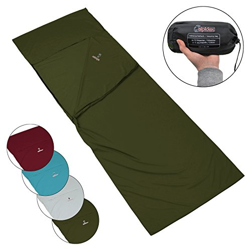Alpidex policotone sacco lenzuolo pocket peter sacco letto campeggio viaggio comodo liner per sacco a pelo, colore:green forest
