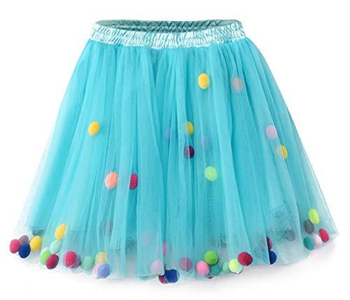 Mädchen Prinzessin Tutu Rock Kostüm Ballerina Tanz Pettiskirt mit Pom Pom Ball Blue ()