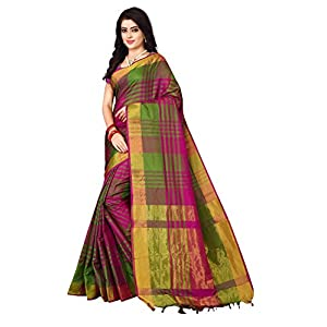 Nirmla Fashion Women's Cotton Silk Saree with Blouse Piece(S1115_Multicolour_Free Size)
