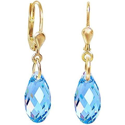 Placcato oro Orecchini con swarovski cristallo Briolette colore: acquamarina blu, orecchini oro-fondo - Swarovski Cristallo Briolette Orecchini