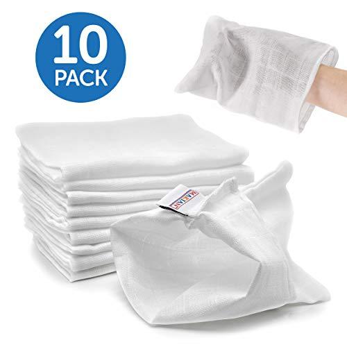 Makian 10 Stück Mull Waschlappen/weiches Waschhandschuhe Set für Babys und Kinder - 100% Baumwolle, ÖKO-TEX zertifiziert, waschbar bis 90°C - Weiß