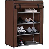 Homebi Lotus Four Layer Shoe Rack In Brown (Store More Then 12 Pairs Of Shoes, Strong Structure With Extra Virgin Plastic Connectors)