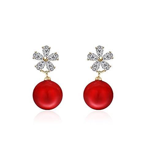 L / C. L'Europe Et Les États-Unis Simples Dames De La Mode Fleurs Boucles D'oreilles Zircons Perle Bijoux De Mariée,Red-OneSize