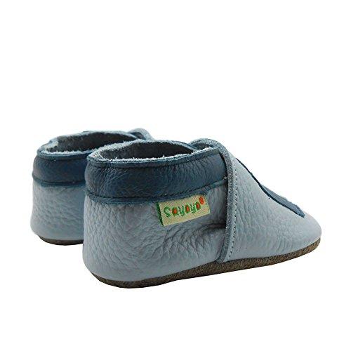 Sayoyo cute Elephant chaussures de bébé en cuir souple chaussures semelle douce Bleu