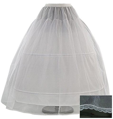 Romantic-Fashion Damen Reifrock Petticoat Tüllrock 2 Reifen Umfang 300cm verstellbar Weiß zum...