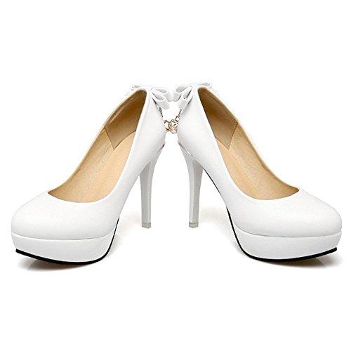 CITW High-Heels Damenschuhe Feder Damenschuhe Bogen Große Größe Einzel Schuhe Wasserdichte Plattform Kleine Frische High Heels,White,UK5/EUR39