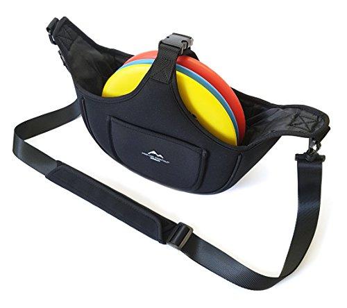 sc-Golf Frisbee Tasche Bag Rucksack in schwarz aus Neopren mit Schultergurt und vielen praktischen Fächern von MIND-CARE-ESSENTIALS (Frisbee-golf-set)