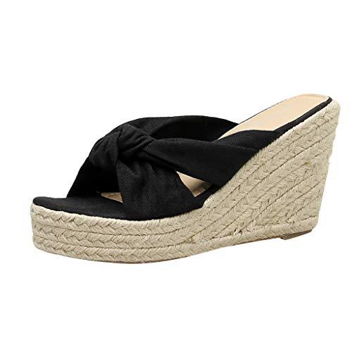 (SEHRGUTGE Damen Sommer Casual Peep-Toe Wedges Espadrilles Pantoletten Wohnungen Hausschuhe Sandalen Strand Plattform Bow Roman Sandalen Schuhe)