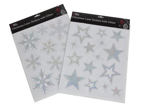 Weihnachtsweihnachts Laser Sticker Glitter White Kinder Kinder Zuhause Neuheit Aufkleber -