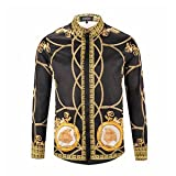 MAYUAN520 Hemden Mens Medusa Shirt Fashion Tops Haka Luxus Palast Stil lässig Digitale 3D-Florale Mens Shirts, Braun, M