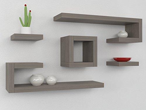 Ve.ca-italy mensola composizione ilary 4 cm in legno, arredo casa, design 100% made in italy, living, camera, cucina in 10 diverse colorazioni (rovere grigio)
