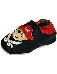Lappa.de - Zapatillas de piel para niños (suela de goma, tallas de la 19 a la 31), diseño de pirata, color negro