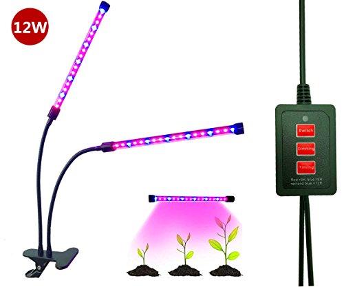 Doppelkopf LED Pflanzenlampe, Florally 18W Pflanzenleuchte, Einstellbar 5 Level Dimmbar USB Pflanzenlicht, 3 Modes Timer(3H/6H/12H) Wachstumslampe, 36 LEDs(24 Rote, 12 Blaue), 2 Lichtmodi Verstellbar, Grow Licht Wachsen Lichter, Klemmleuchten Mit 360 Grad Einstellbar Flexible Gooseneck Für Zimmerpflanzen Hydroponik Gewächshaus Gartenarbeit ( Adapter Nicht Mitliefern)