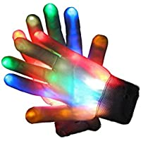 Glovion LED brillante Vistoso Guantes para el partido - Un par