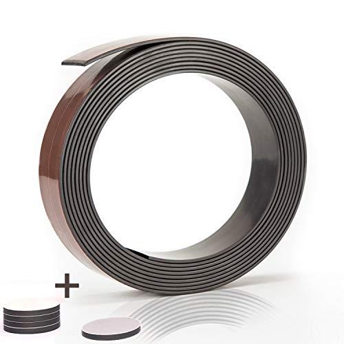 Prime Stuff Magnetband - [3m] Selbstklebende Magnetleiste mit starkem Halt - Universell einsetzbarer Magnetstreifen für die Küche, Schule, Werkstatt und Co. - Magnetklebeband Magnet selbstklebend