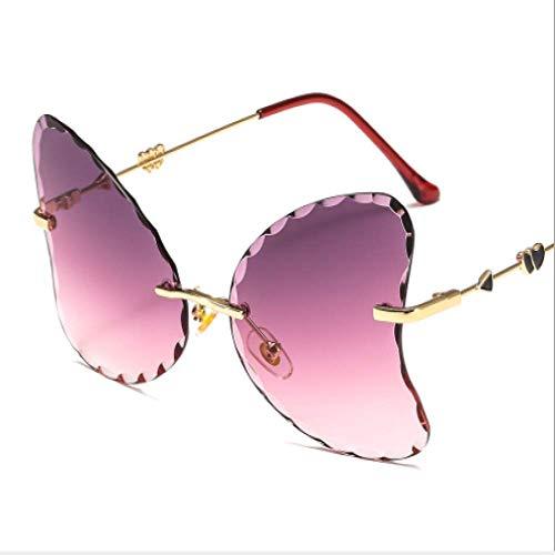 New rahmenlose trimmen Sonnenbrille wellig großen Rahmen Schmetterlingsform Metall Sonnenbrille weibliche marine Farbe, progressive lila