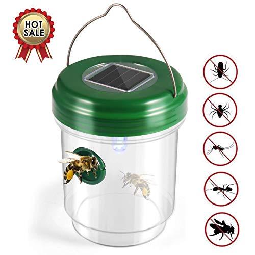 FUNXS Wasp Trap Catcher, Life Outdoor Solarbetriebene ultraviolette LED-Lampe, ideal für Wespen, Bienen, gelbe Jacken, Hornissen, Käfer, Fliegen und mehr -
