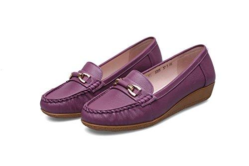Damen Flats Single Schuhe Neue Freizeit Loafer Komfort Echtes Leder Pumps Anti-Rutsch Soft Bottom Schwarz Herbst Frühling Party Work , Purple , EUR 40/ UK 7 (Athletic Soft-toe-oxford)