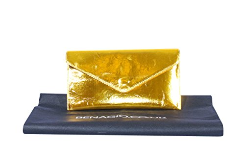Big Handbag Shop , Damen Clutch One, Blau - Blu (Blu navy) - Größe: One Size gold