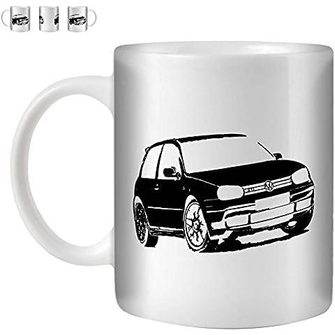 STUFF4 Taza de Café/Té 350ml/Negro/VW Golf GTI Mk4/Cerámica Blanca/ST10