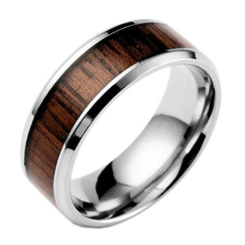 encoco Herren Ring mit Holz Einlage Herren Verlobungsring Hochzeit Band Vintage Stil Titan Ring für Herren, Größen 6bis 13, braun, 9
