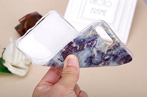 SainCat Coque Housse pour Apple iPhone 7 Plus,Transparent Brillante Coque Silicone Etui Housse,iPhone 7 Plus Silicone Case Soft Gel Cover Anti-Scratch Transparent Case TPU Cover,Fonction Support Prote marbre-Rocher bleu noir