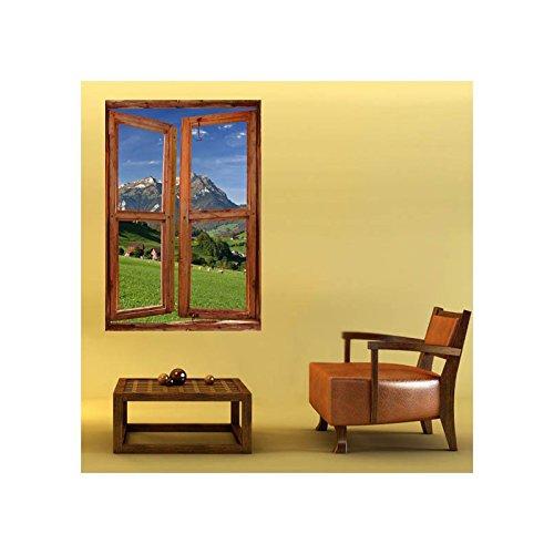 TATOUTEX Sticker, Trompe Auge Fenster Die Berge, L 100cm x H 150cm