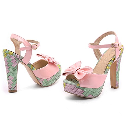 YE Dmane Knöchelriemchen Peep Toe Sandalen Blockabsatz High Heels Plateau mit Schleife und Schnalle 12cm Elegant Schuhe Rosa