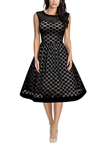 Miusol Damen Knielang Abendkleid Retro 50er Rockabilly kleid Cocktail Ballkleid Schwarz Gr.XXL -