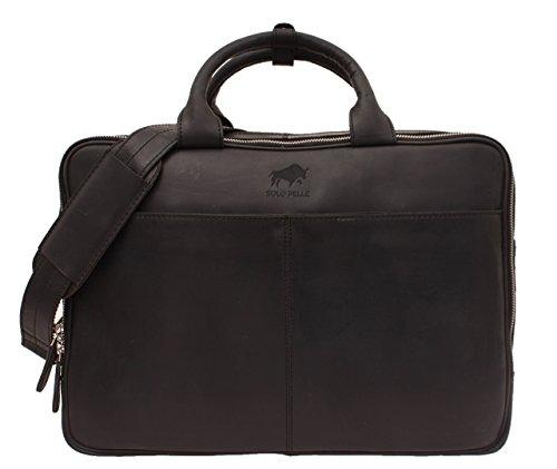 Solo Pelle Business Messenger Tasche / Umhängetasche College Tasche aus echtem Leder Model: Nano in Schwarz (Solo-laptop-tasche Aus Leder)