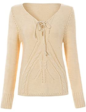 Azbro Mujer Suéter Recorte Mangas Largas Cordón-arriba con Cuello V
