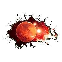 elegantstunning Waterproof 3D Universe Planet Scenery Broken Wall Sticker Room Decoration