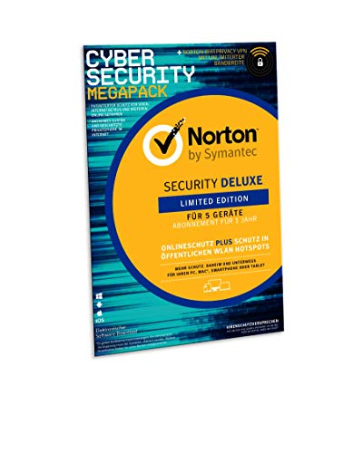 Norton Security Deluxe 2019 | limitierte CyberSecurity Edition | Schutz für 5 Geräte inkl. Secure VPN | PC/ MAC/ Android Download | FFP