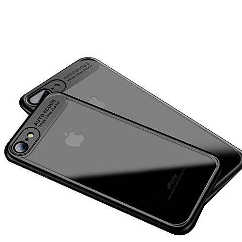 """iPhone 7 Coque , SHANGRUN Doux TPU Silicone Bumper + Transparent Dur PC Matériel Couvercle housse Etui Protection Case pour iPhone 7 4.7"""" Blanc Noir"""