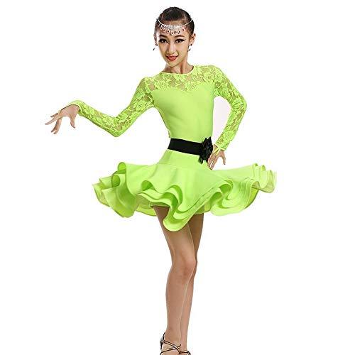 HUO FEI NIAO Tanzkostüm - Latin Dance Kostüm 3 Farbe Bühne Leistung Wettbewerb Tanzkostüm Mädchen Latin Wettbewerb Kostüm Lombard Samba Tanzkostüm Ballroom Dance Kostüm (Farbe : Grün, größe : - Ballroom Samba Kostüm