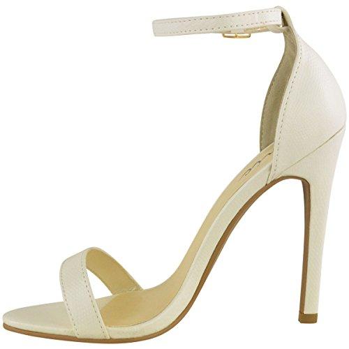 Da donna in acciaio inox a forma di scarpa con tacco a livello della caviglia etto con Peep tappete Bianco Lucertola Similpelle