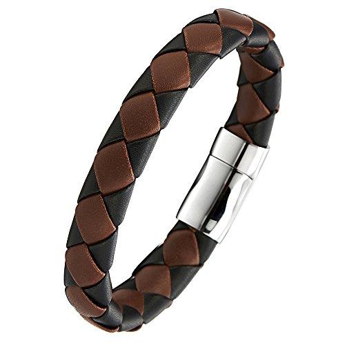 Unisex-Braune-Schwarz-Geflochtenes-Leder-Armband-fr-Herren-Damen-Armreif-Schweiband-mit-Edelstahl-Magnetverschluss