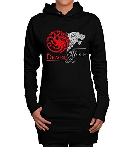 Shirtdepartment - Damen Long Hoodie - GoT - Dragon & Wolf schwarz-Silber ()