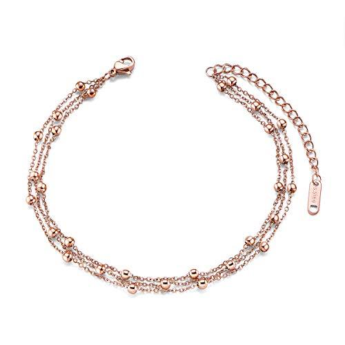 SHEGRACE Cavigliera Multistrato da Donna Acciaio al Titanio con Perline Oro Rosa/Argento Placcato Regolabile Semplice per La Spiaggia Estiva
