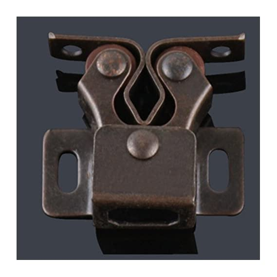 1Pc Double Roller Catches Cupboard Cabinet Door Latch Hardware Chrome/Copper(Brown)(Brown)