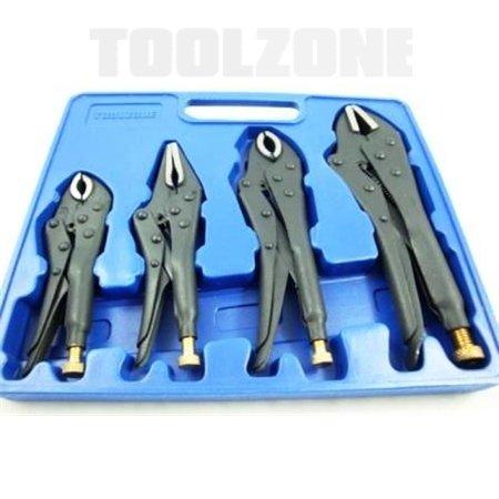 Toolzone 4 piezas De alta resistencia forjada y juego de alicates de presión